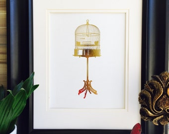 Gold Foil Print, Wall Art, birdcage Decor, Gold birdcage, Birdcage Stand, gold foil art, bird cage stand
