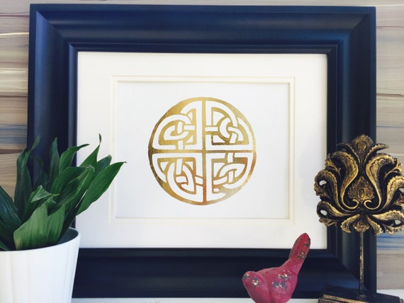 Celtic knot gold foil art print celtic home decor wife wall for Celtic decorations home