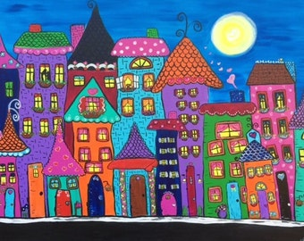 City Homes- DIGITAL DOWNLOAD, acrylic, original, wall decor, bright, colorful, whimsical, moonlight, purple, blue, pink, downtown, hearts