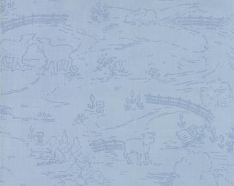 SALE -  Countryside Sky Blue - Ooh La La by Bunny Hill Designs for Moda Fabrics - Toile - 2832 18
