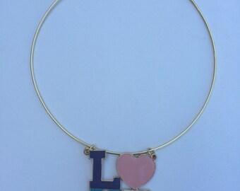 Neck Ring w/ Gold Enamel Love
