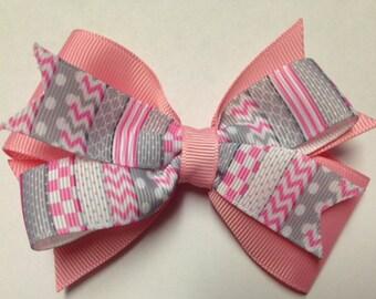 "4"" Pink Gray polka dot chevron stripe quatrefoil checker hair bow clip birthday party pinwheel stacked baby toddler teen Easter egg grey"
