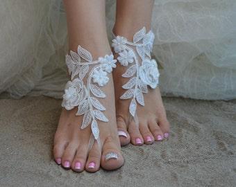 barefoot sandals, bridal anklet, Beach wedding barefoot sandals, bangle, wedding anklet, anklet, bridal, wedding, barefoot, ivory sandals