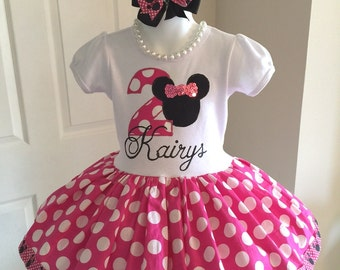 Minnie Mouse Disney Inspired Twirl Dress Birthday Custom Boutique Party All Sizes Pink White Black Polka Dots Second Third First 1st 2nd 3rd