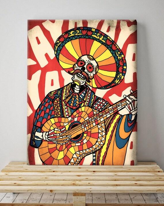Mariachi Canvas Print, Mexican Sugar Skull Wall Art, Colorful Skull Printed  Canvas For Wall Decor, Ready To Hang Original Art By Ali Gulec