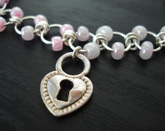 Heart Keyhole Anklet, Heart Anklet, Heart Charm Anklet, Pastel Beaded Anklet, Chain Anklet, Adjustable Anklet, Summer Jewelry
