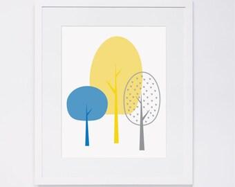 Modern Woodland nursery wall art - tree, yellow, gray, blue, digital art INSTANT DOWNLOAD