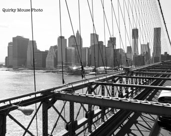 Instant Digital Download, Manhattan Skyline Photography, Brooklyn Bridge, Black and White Photography Still Life Fine Arts Wall Art New York
