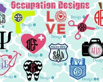 Occupation vinyl decals - monogram decals - monogrammed decals - hair stylist - photographer - nurse - dentist - fire / police wife