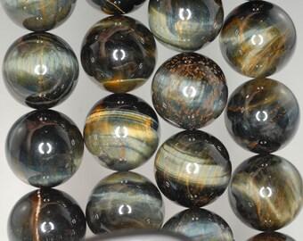 18mm Blue Tiger Eye Gemstone Hawk Eye Grade A Round 18mm Loose Beads 7 inch Half Strand BULK LOT 1,2 and 6 (90186263-77)