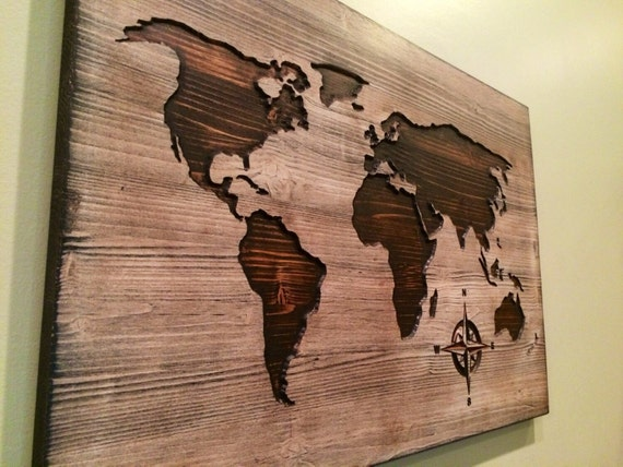 Carved wooden world map wood wall art home decor