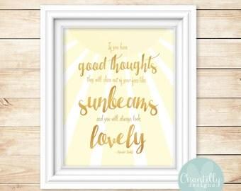 Roald Dahl Sunbeams Quote Digital Print