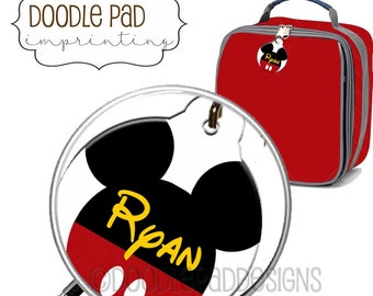 Mickey Mouse Lunch box ID Tag, Zipper Pull, Personalized Free