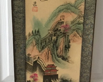 3ft Scroll - Great Wall scene - signed and stamped