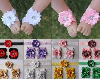 Handmade Baby Barefoot Sandals Newborn Girl Headband Hair Band Set Free Postage