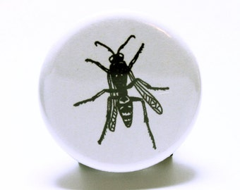 """Wasp Insect Button, Black and White Pinback Button, Hand Drawn Pins (1.25"""" small pinback badge)"""