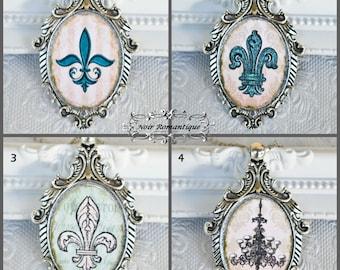 Victorian Gothic Silver Necklace 30x40mm-CHOOSE ILLUSTRATION -Victorian Gothic Jewelry-Fleur de lis-Victorian necklace chandelier