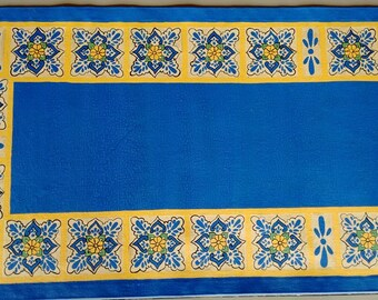 Hand painted Blue Mexican tile Design Canvas Rug, Canvas Floorcloth, Runner Rug