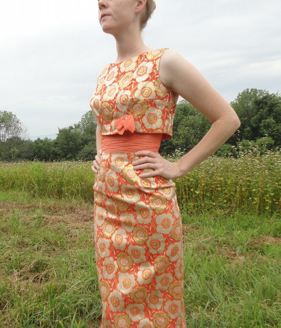 Image result for peach orange brocade gown