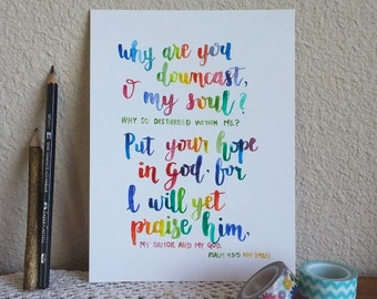 6 x 8 in Original Art Modern Calligraphy in Watercolor Paint Bible Scripture Psalm 43 verse 5 Custom Available