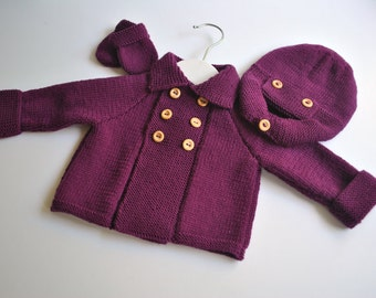 Hand knitted baby boy pram set with cashmere in purple age 0 - 3 mths