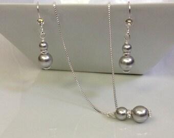 Gray Pearl Swarovski Bridal Jewelry Set | Gray Bridal Jewelry Set | Bridesmaid Jewelry Set | Pearl Bridal Jewelry