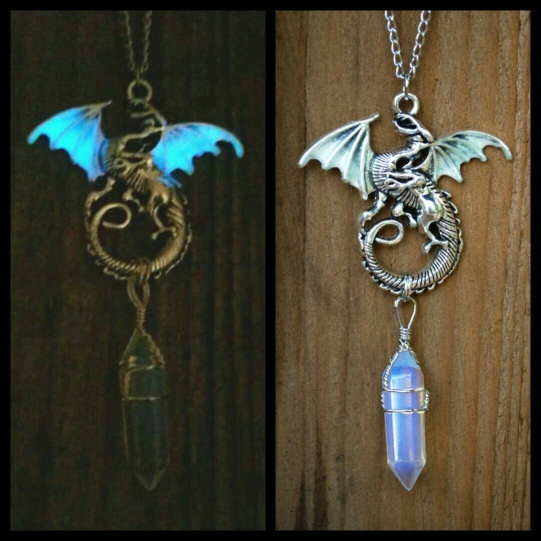 Glow In The Dark Dragon With Moonstone Crystal By