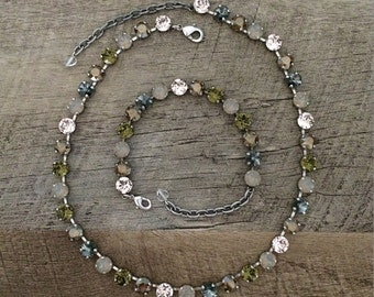 Perfect with Anything set! Swarovski Crystal 8mm Necklace and Bracelet Neutral tones