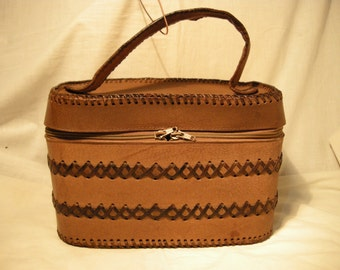 Vintage 1980's Handmade Light Brown Leather Handbag