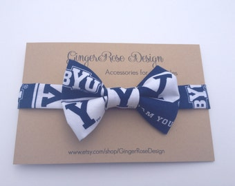 BYU Bow Tie; Cougar Bow Tie; Boy Bow Tie; Toddler Bow Tie; Baby Bow Tie; Adjustable Bow Tie; Fabric Bow Tie; Blue and White Bow Tie