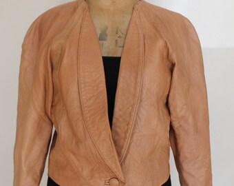 Ladies Vintage Tan Leather Crop Jacket