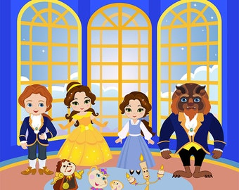 Clipart  Princess Digital Clipart, Princess Clipart, Beauty Beast Clipart  Belle and Beast Digital Clipart