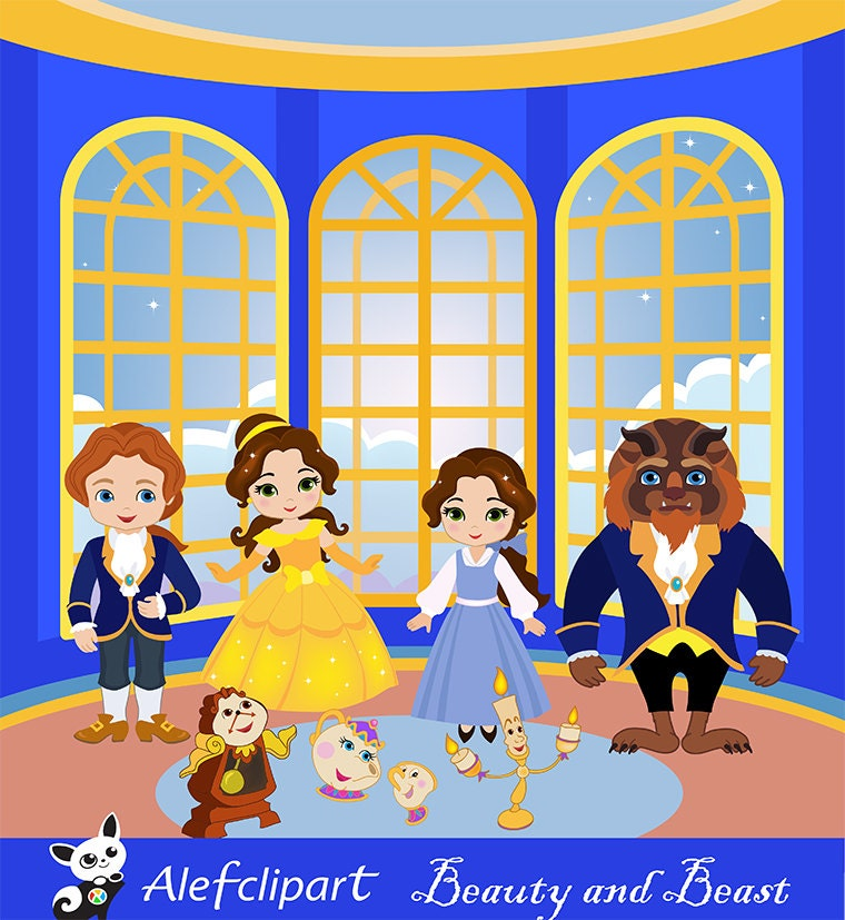 Clipart Princess Digital Beauty Beast Belle And