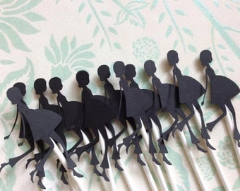 12 Detailed Silhouette Pregnant Woman Cupcake toppers
