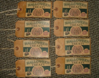 Primitive Hang Tags~Halloween Treats~X-Lg Size~Set Of 8!