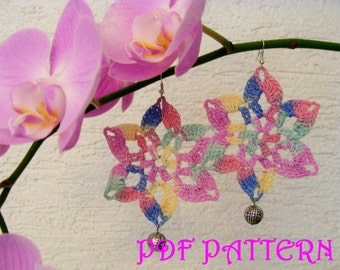 Crochet Flower Earrings PDF Pattern San Paulo