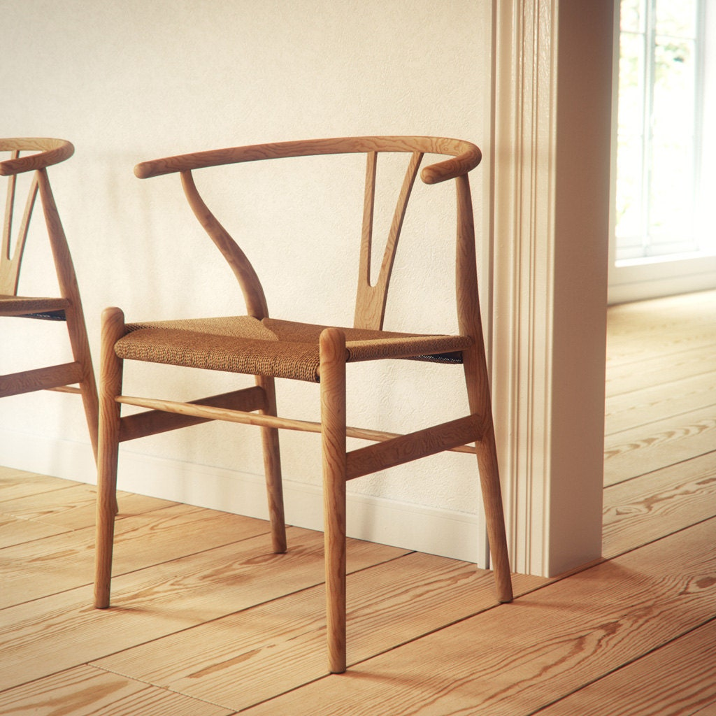 Wishbone Chair Hans Wegner Oak Wood By Manuwoodencollection