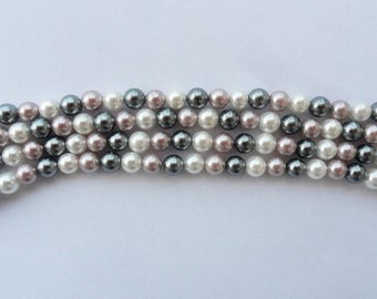 Freshwater pearls trio of mixed colors 8 mm 25 pcs