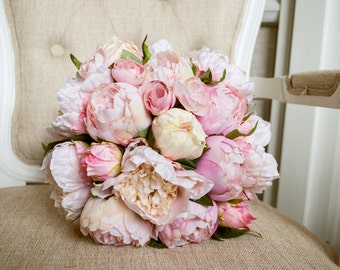 Blush pink and pale pink silk wedding bouquet. Made with artificial peonies.