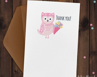 Owl Thank you Card with Flowers design