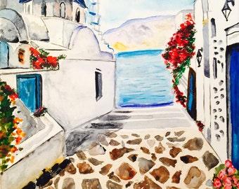 Handmade watercolor 'Santorini landscape'