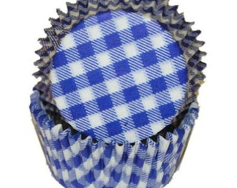 Blue Gingham - Baking Cupcake Liners - 50 Count