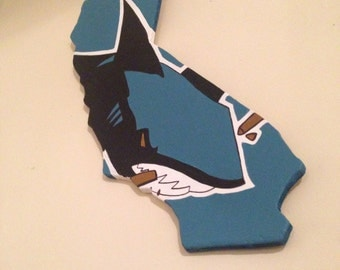 California shape with San Jose Sharks logo