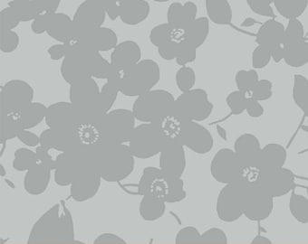 "Modern Gray Flower > Quilt Back 108"" Wide < Windham Fabrics > Half Yard Off the Bolt"