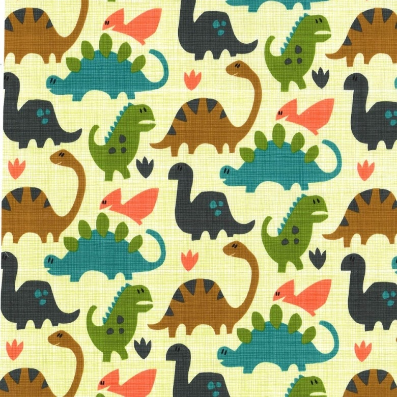 Hashmark by michael miller old friends dinosaur pistachio for Minecraft fabric by the yard