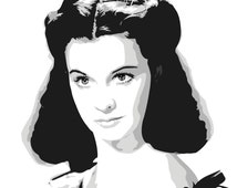 Vivien Leigh as Scarlett O'Hara from Gone With The Wind Digital Download Illustration Art