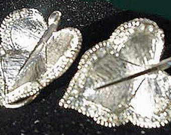 BSK, Silver Leaf Style Lever Back Earrings, Rhinestone Edges