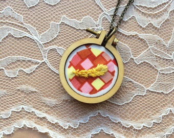 SALE: Mod Inspired Feather Necklace, Mini Embroidery Hoop Jewelry, Mini Hoop Pendant, Gifts Under 50, Gifts For Her