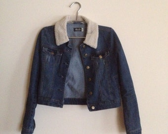 dream denin jacket w faux fur collar
