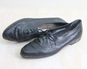 Vintage Black Leather Oxfords Sz 8.5Narrow